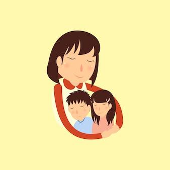 Mères et enfants étreindre