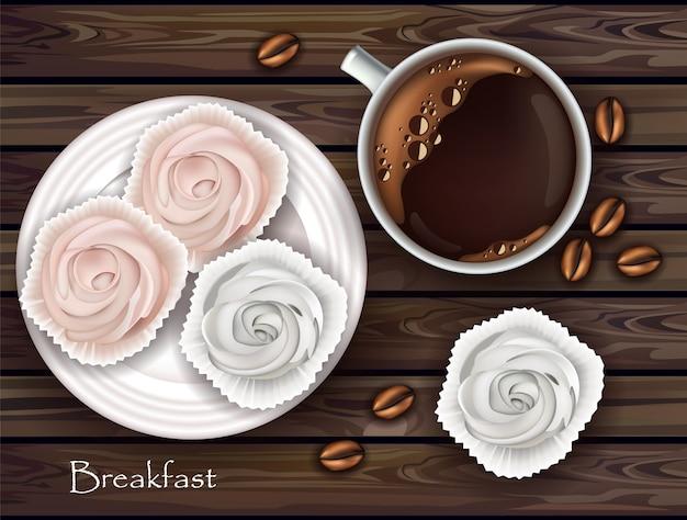 Meringues sucrées et petit-déjeuner au café