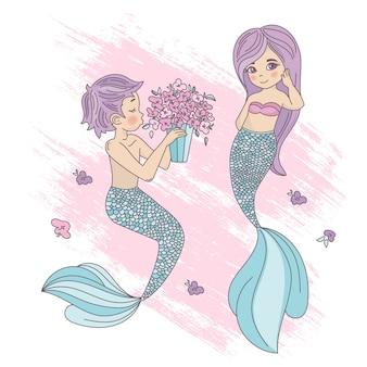 Mermaid boy cartoon voyage tropical vector illustration set