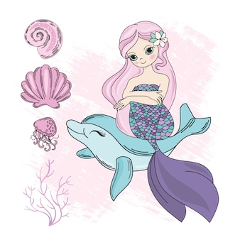 Mermaid dolphin caricature voyage tropical