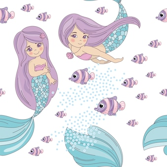 Mermaid fish sea travel seamless pattern vector illustration