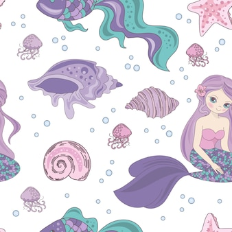 Mermaid passion princess seamless pattern