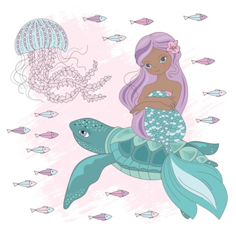 Mermaid sur tortue sous-marin prince