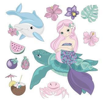 Mermaid volant animaux marins sous l'eau