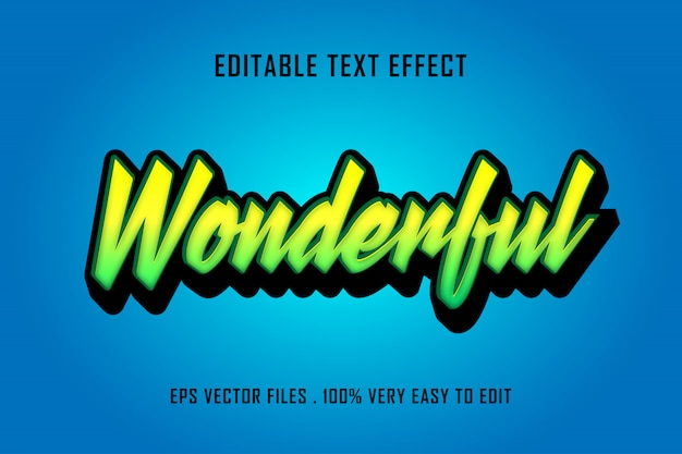 Merveilleux - vecteur premium effet texte, texte modifiable