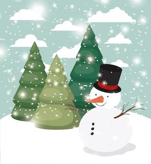 Mery, noël, carte, à, bonhomme de neige, snowscape