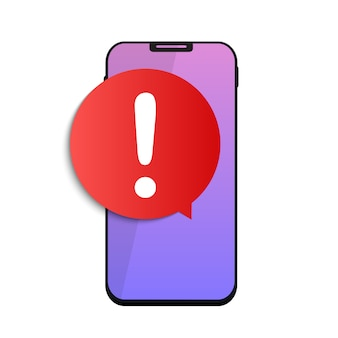 Message d'alerte notification mobile sur le concept d'écran smartphone. illustration