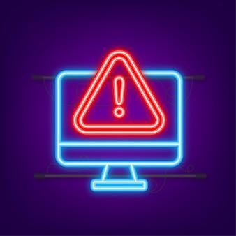Message d'alerte notification d'ordinateur portable icône néon une erreur de danger alerte un problème de virus d'ordinateur portable
