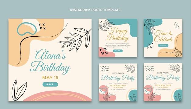 Message d'anniversaire plat minimaliste