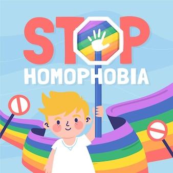 Message d'arrêt d'homophobie dessiné à la main illustré