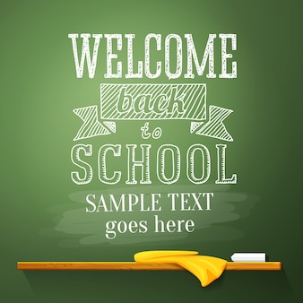Message de bienvenue à l'école au tableau
