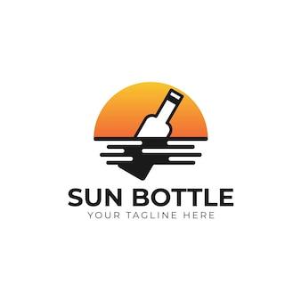 Message de bouteille avec inspiration de conception de logo de soleil