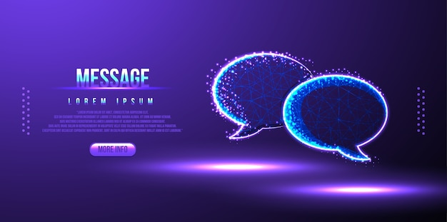 Message, bulle discours low poly filaire