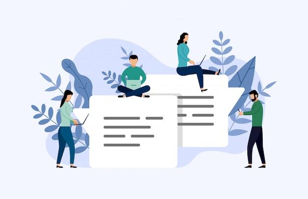 Message de bulles de discussion, gens en ligne, illustration d'entreprise