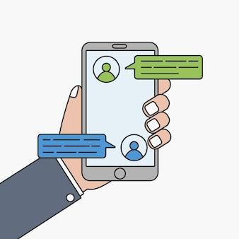 Message de chat sur téléphone portable. main avec smartphone et bulle de discussion, sms. illustration vectorielle.