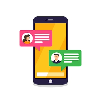 Message de concept et chat. présent par message texte d'icône. illustrer