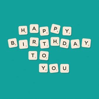 Message du joyeux anniversaire écrit avec l'illustration vectorielle des carreaux