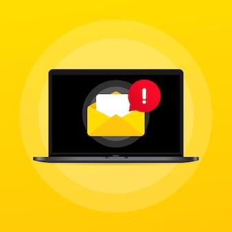 Message électronique à l'écran dans l'ordinateur portable. notification d'enveloppe. bulletin sur ordinateur. vecteur sur fond isolé. eps 10.