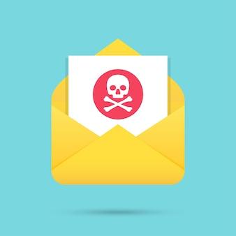 Message électronique avec icône de spam dans un design plat