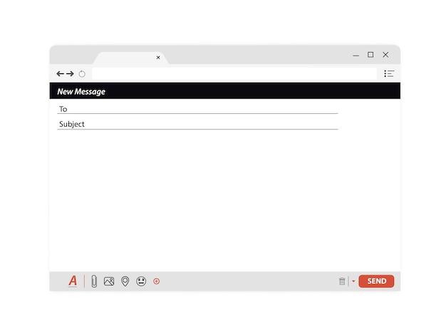 Message électronique modèle de fenêtre vide. fenêtre de navigateur de courrier électronique vide. interface de trame de courrier internet de modèle vierge de courrier électronique pour le message. envoi du panneau web de l'interface utilisateur. interface du formulaire de contact