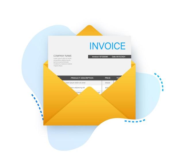 Message électronique de vecteur d'icône de facture reçu avec le style plat de document de facture