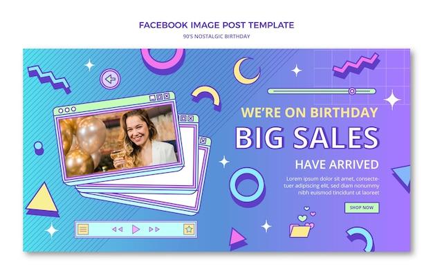 Message Facebook D'anniversaire Nostalgique Plat Des Années 90 Vecteur gratuit