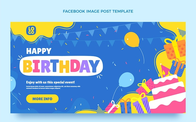 Message facebook d'anniversaire plat minimal