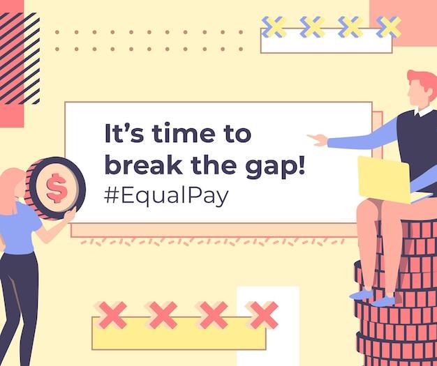 Message facebook sur l'égalité des salaires de memphis pastel