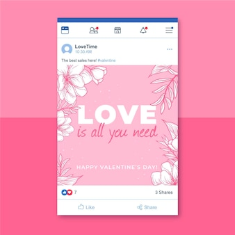 Message facebook de la saint-valentin monocolore floral