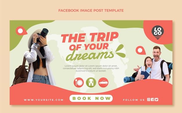 Message facebook de voyage à plat