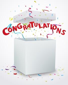 Message de félicitations avec des confettis