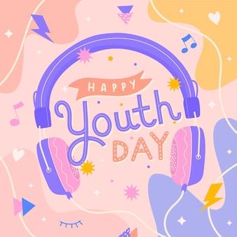 Message illustré de la journée de la jeunesse avec des éléments mignons