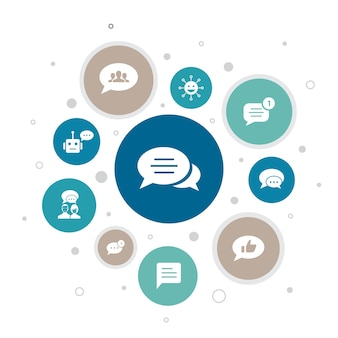 Message infographie 10 étapes bubble design.emoji, chatbot, chat de groupe, icônes simples d'application de message