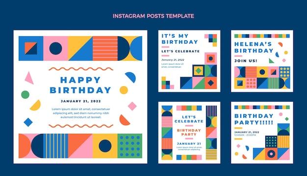 Message instagram d'anniversaire de mosaïque de conception plate