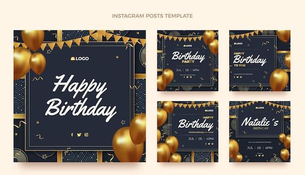 Message instagram d'anniversaire d'or de luxe réaliste