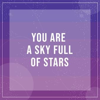 Message instagram de la galaxie de l'espace violet moderne