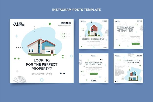 Message instagram de l'immobilier géométrique abstrait plat