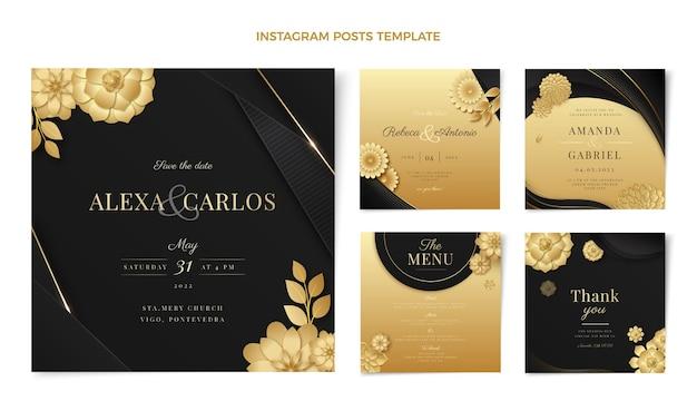 Message instagram de mariage doré de luxe réaliste