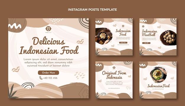 Message instagram de nourriture plate