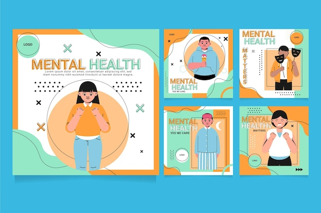 Message instagram sur la santé mentale dessiné à la main
