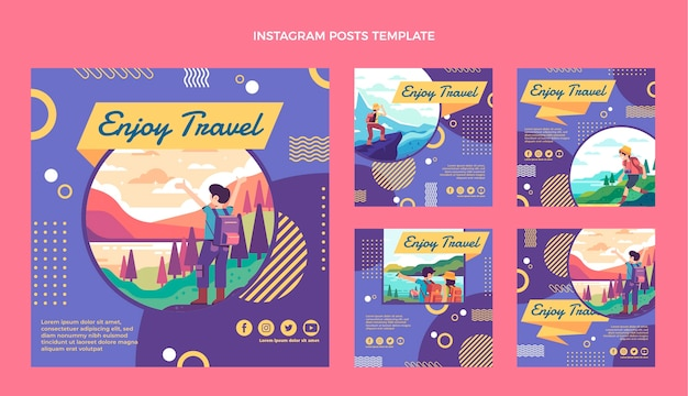 Message instagram de voyage design plat