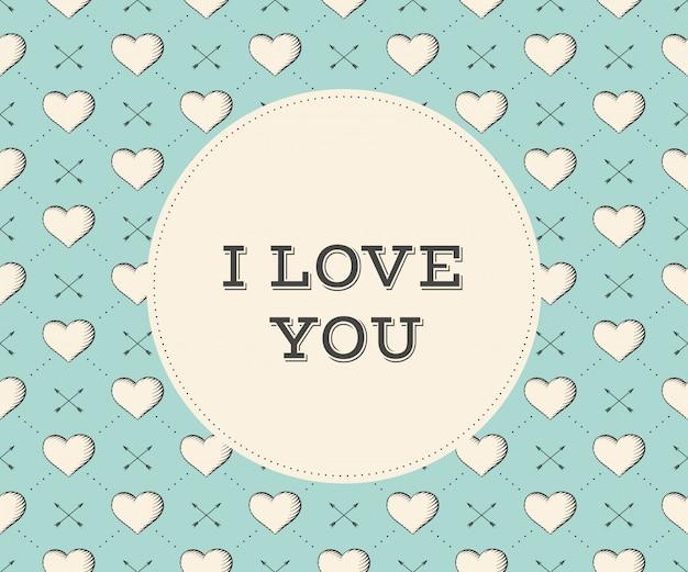 Message je t'aime en cercle sur un modèle sans couture avec coeur et flèches.