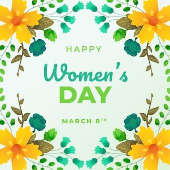 Message de la journée de la femme heureuse avec thème floral