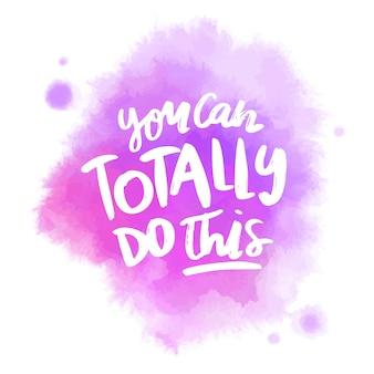 Message de lettrage positif sur tache d'aquarelle violet