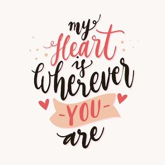 Message de lettrage romantique