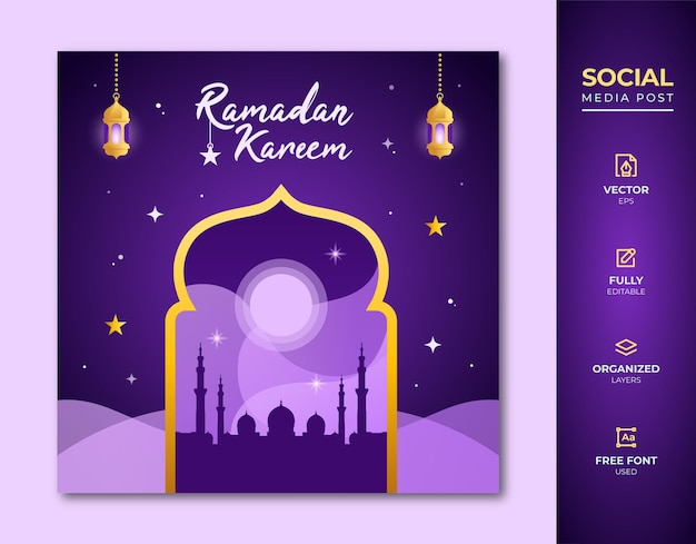 Message sur les médias sociaux du ramadan kareem.