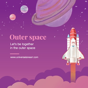 Message de médias sociaux galaxy avec fusée, illustration aquarelle saturne.