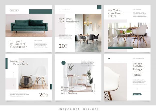 Message de médias sociaux de mobilier moderne minimaliste