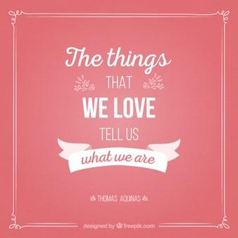Un message mignon sur les choses que nous aimons
