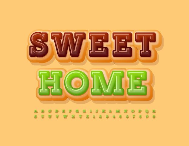 Message mignon de vecteur sweet home avec de délicieuses lettres et chiffres de l'alphabet mis en police tasty donut